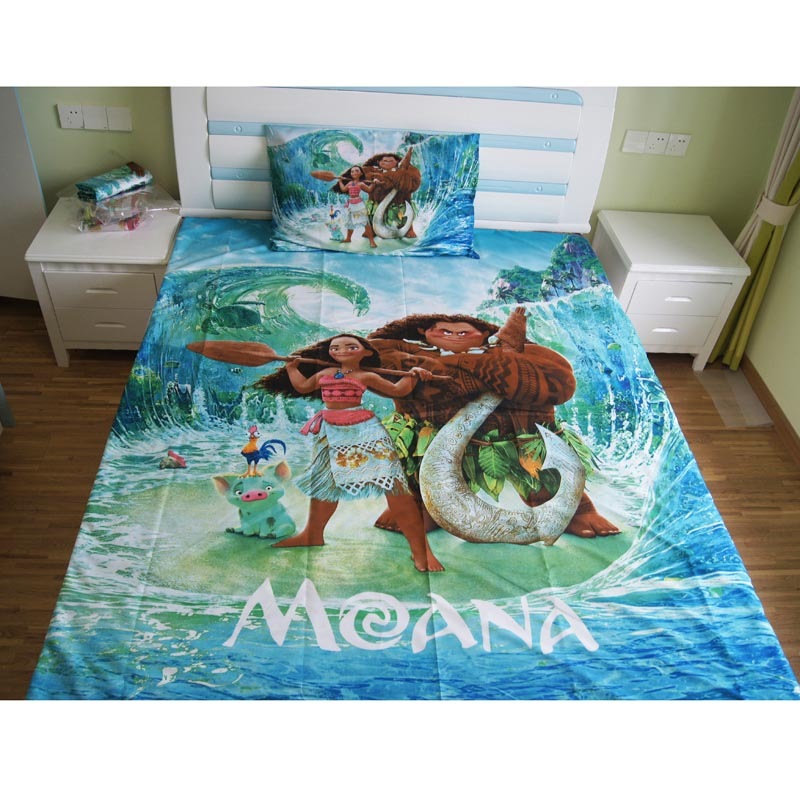 Hawaii Disney Cartoon Moana and Maui Bedding Set Duvet Cover Bed Sheet Pillow Case Twin Single Size  2/3/4 Pieces
