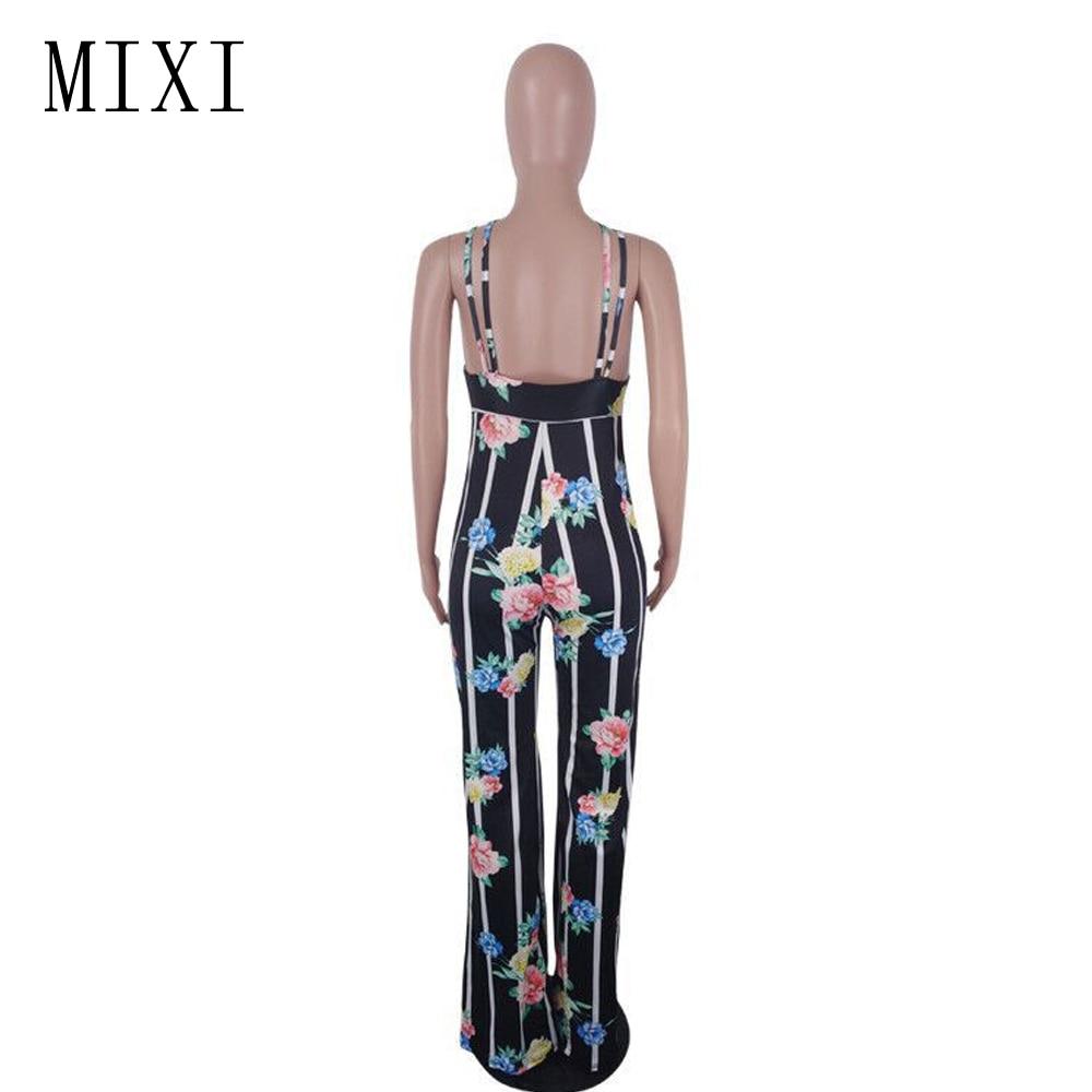 MIXI Summer 2018 Women Jumpsuit V-Neck Spaghetti Strap Backless Striped Floral Jumpsuit Female Party Elegant Wide Leg Jumpsuits