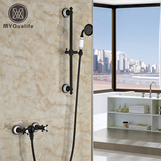 Charming Luxury Dual Cross Handle Handheld Shower Faucet Wall Mount With Slide Bar  Oil Rubbed Bronze Finished