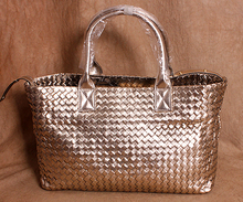 free shipping Casual knitted genuine leather big bags soft leather one shoulder