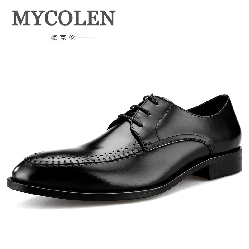 MYCOLEN Men Genuine Leather Dress Shoes Pointed Toe Lace Up Luxury Design Wedding Shoes Men High Grade Man Shoes Sapatenis цена