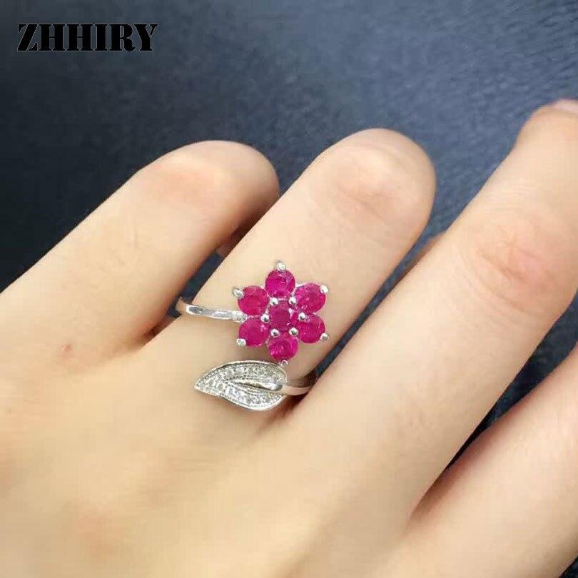 Из натуральной рубиновое кольцо Аутентичные 925 Серебро Драгоценные камни женщина мадам ювелирные кольца ...