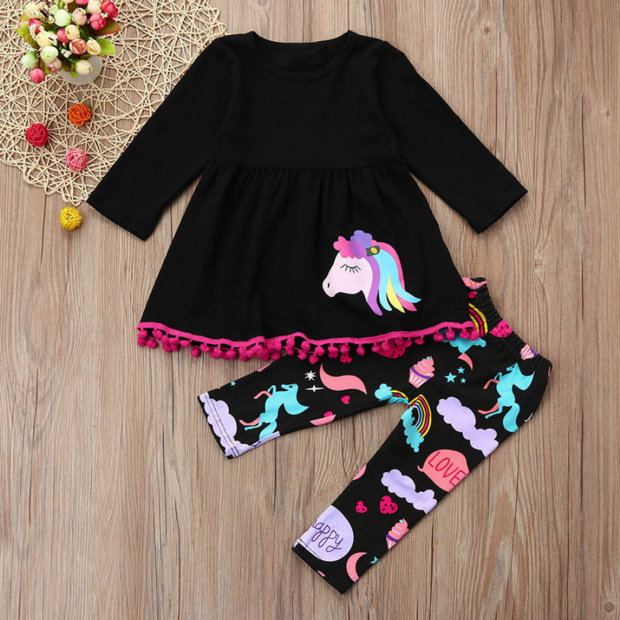 Telotuny 2017 Rainbow Horse Kids Baby Girls Outfits Clothes T-shirt Top Dress+Long Pants Set no27