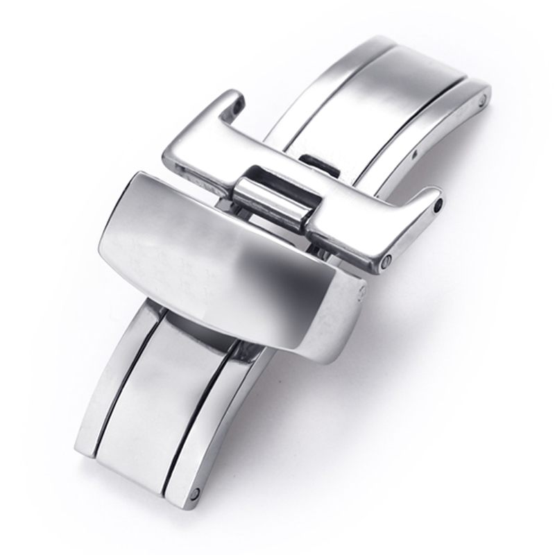 10-22mm Double-Pull Butterfly Buckle Stainless Steel Butterfly Buckle Automatic Fold Deployment Clasp Buckle Watch Strap