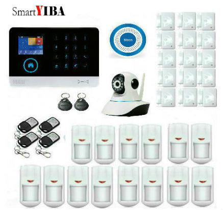 SmartYIBA RFID WIFI Wireless GSM Alarm APP Control Security Camera PIR Motion Sensor, Door Gap Detector, Remote Controller Kits original orvibo smart security kit alarm detector zigbee intelligent hub motion door sensor wifi ip camera app remote control