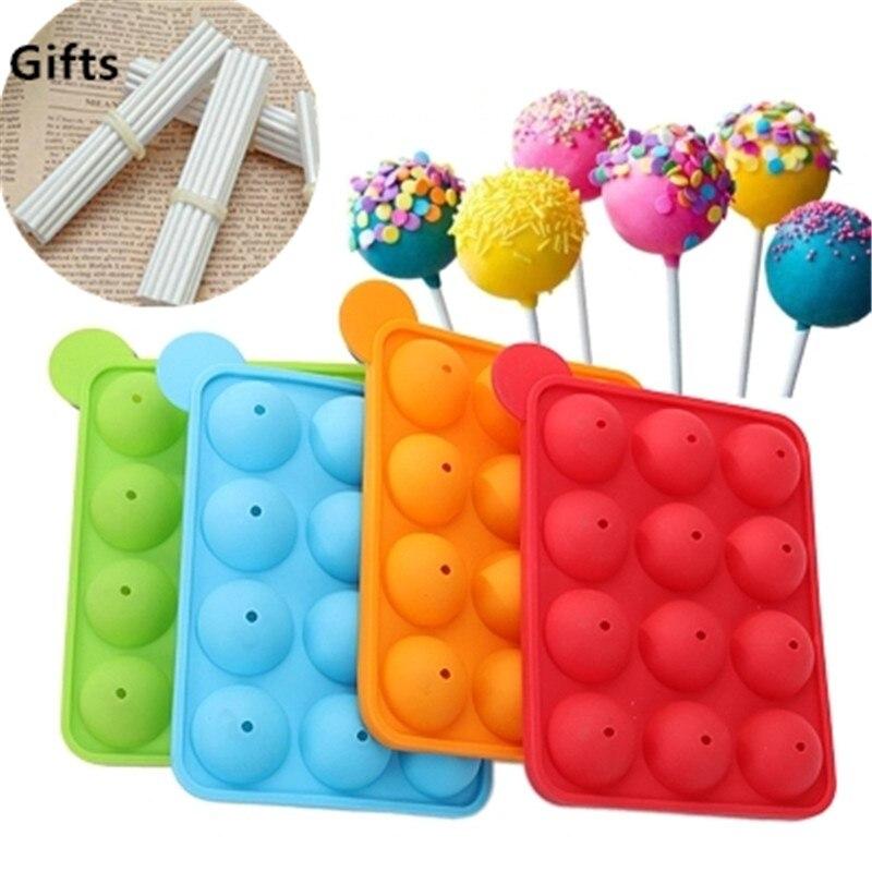 HIKUUI 1pc Lollipop silicone mold + 100pcs Lollipop Sticks Combination Pop cake Moule 12 Holes Lollypop Popcake Silicon Mould