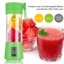 USB Rechargeable 380 ml Botol Cangkir Jus Jeruk Juicer Blender Sayuran Buah Smoothie Milkshake Squeezers Reamers Tiga Warna(China)