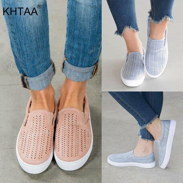 2019 Bahar Sneakers Üzerinde Kayma Sığ Loafer'lar Kadın vulkanize ayakkabı Nefes Hollow Out Kadın Rahat Flats Bayanlar