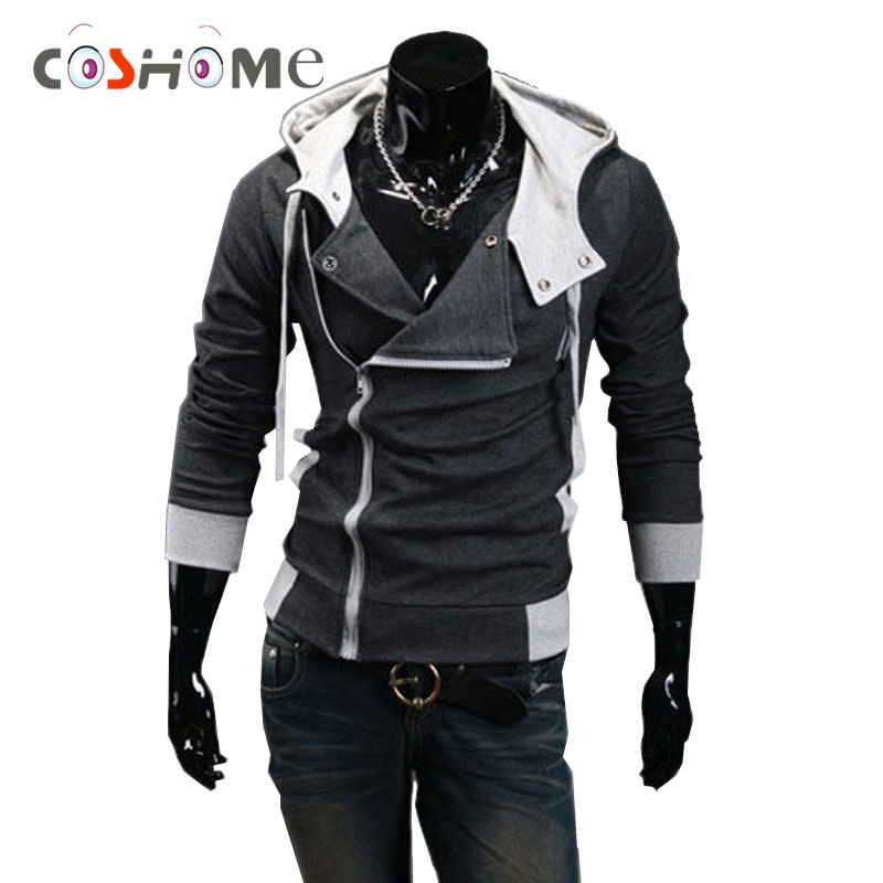 Coshome Assassin's Creed Hoodies Zipper Cosplay Costumes Men Women Sportswears Sweatshirts Adult Long Sleeves Jacket Coat