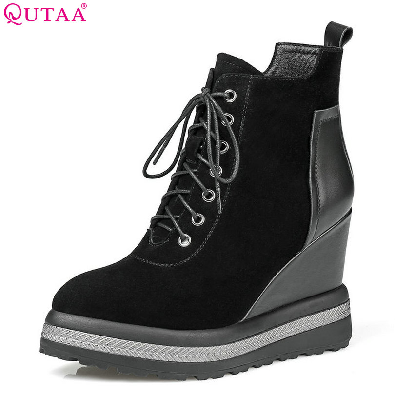 QUTAA  2018 Autumn Women ankle Boots PU+kid suede Wedges High Heel fashion platfrom Round Toe Zippers Ladies Shoes Size 34-42 esveva 2016 sequined platform women boots autumn fashion boots wedges high heel leisure round toe ladies ankle boot size 34 39