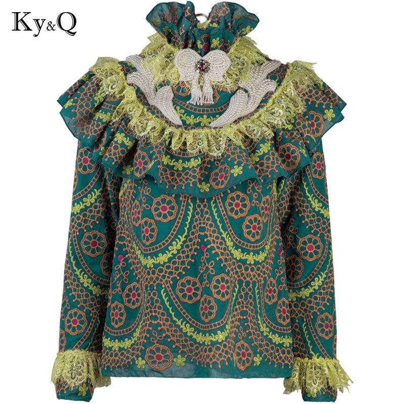 Piste Designer Vintage vert volants Blouses chemise femmes été automne broderie à manches longues dentelle imprimé femme en mousseline de soie vêtements