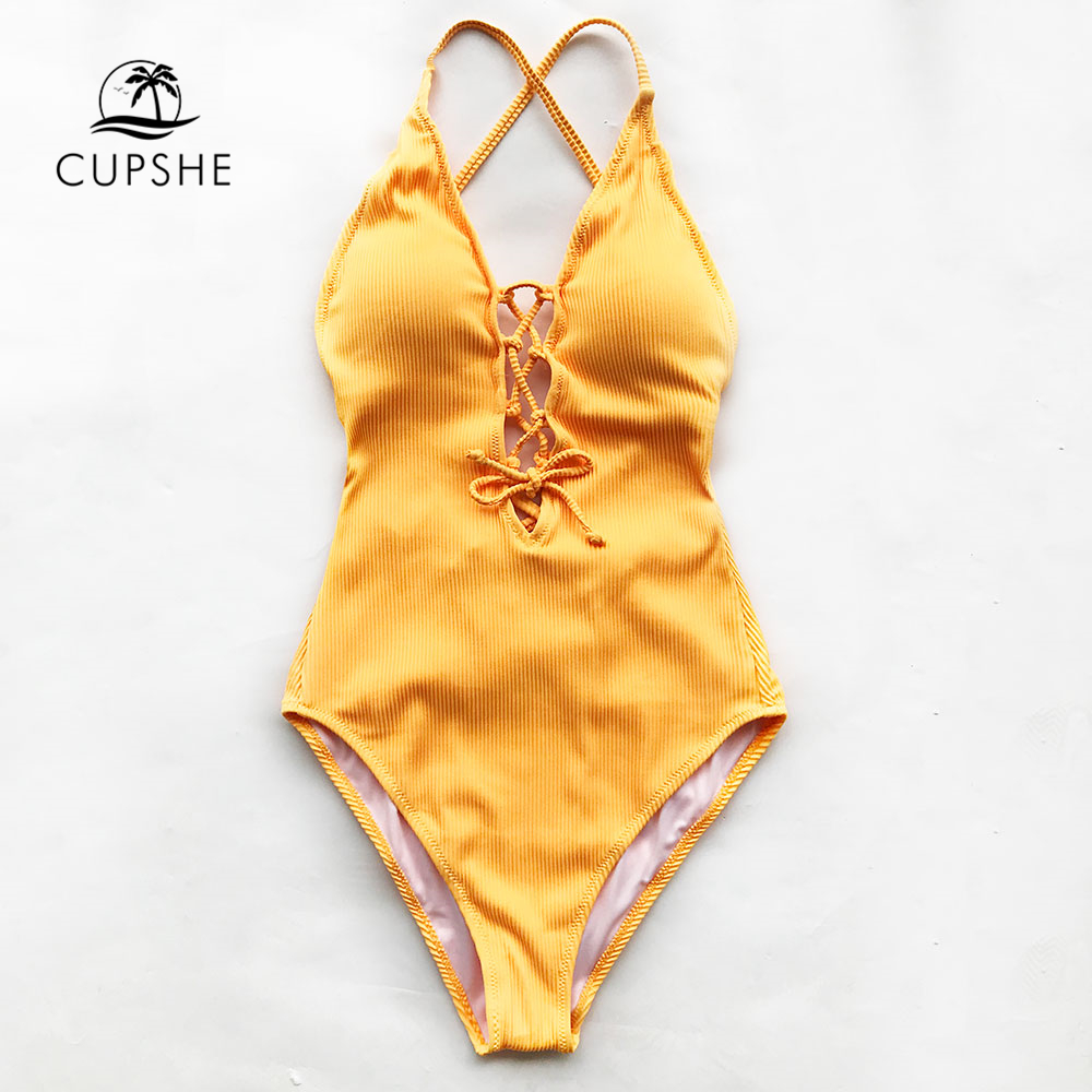 CUPSHE Remind Me Solid One-piece Swimsuit Women Backless Deep V neck Lace Up Sexy Bodysuits 2019 Beach Bathing Suit Swimwear