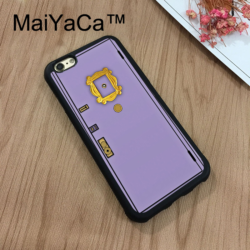 MaiYaCa Friends Sitcom Monica's Flat Doors Phone Cases For iPhone 7 Shell Hard Plastic Phone Case Soft Rubber Edge Back Cover
