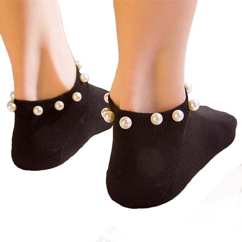 9 Colors Women socks Cotton Lovely Candy Color Imitation Pearl Women's Socks.Casual Ladies Girl's Short female Socks Sox Hosiery