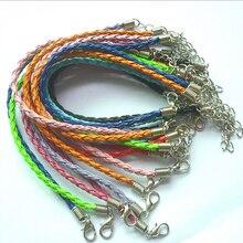 Европейский модный самодельный кожаный браслет цепочка из змеиной кожи Подходит для бусин 100 шт смешанных цветов 18+ 5 см