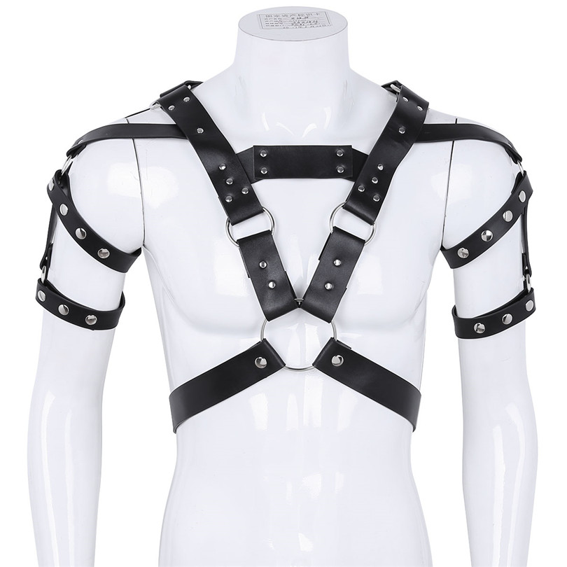 iEFiEL Men Lingerie PU Leather Metal Rivet Studs Body Chest Shoulder Half Harness Belt with O-Rings for Cosplay Roleplay Costume