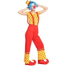 Adult Women Funny Beauty Circus Clown Bib Pants Costumes Halloween Purim Carnival Masquerade Mardi Gras Party Outfit