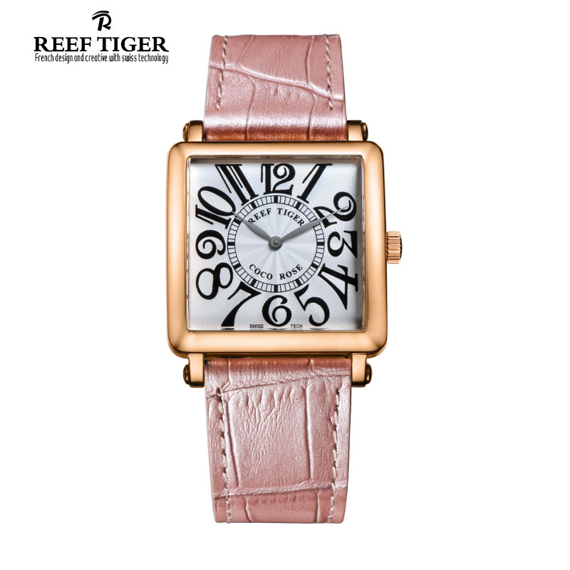 Reef Tiger/RT Brand Watch for Women Quartz Watches Rose Gold Leather Strap Watch with Arabic Numeral Markers RGA173 top brand reef tiger rt watches luxury fashion ladies dress quartz black watch rose gold diamonds watch for women rga172
