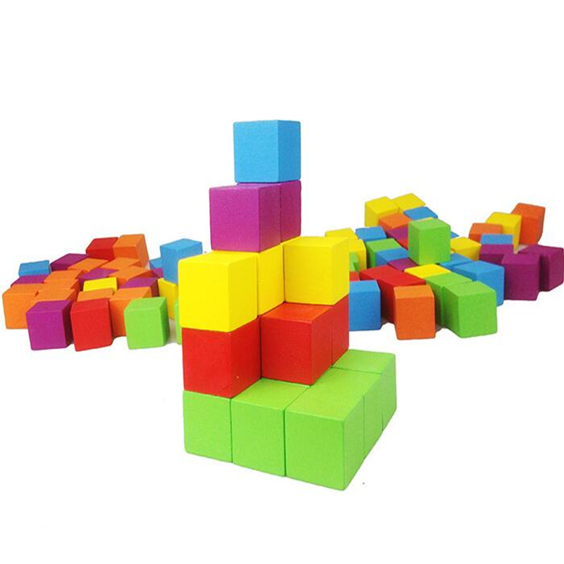 Montessori teaching aids wooden 2.5 cm 100 color cube children early education Enlightenment building blocks to teach toys montessori education wooden toys four color game color matching early child kids education learning toys building blocks