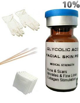 Glycolic Acid 10% Peel AHA Professional Chemical Peel For Acne Oily Skin Wrinkles Fine Lines Brown Spots Blackheads Pores