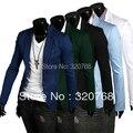 Envío gratis 2014 nuevos hombres de color sólido de la alta calidad de la capa del juego del botón casual hombres chaqueta de algodón 5 colores