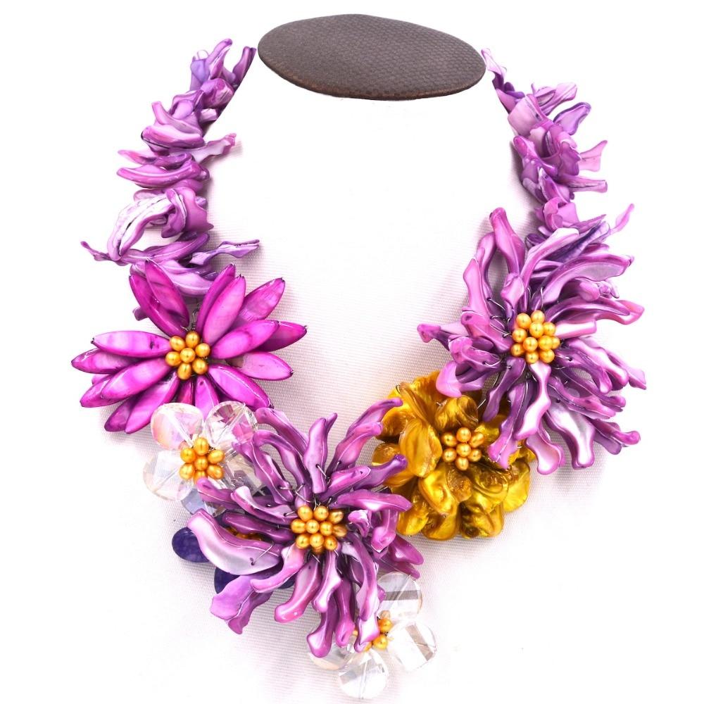 Здесь продается  pink purple  sea shell flower necklace big fashion  stone faceted freshwater pearl 19inch   Ювелирные изделия и часы