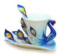 Fashion Ceramic Peacock Enamel Mug Coffee Cup Elegent Porcelain Decortaive Tea Cup Set With Saucer Tray