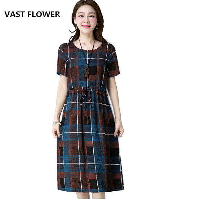 ff437eb886f7 new fashion cotton linen vintage plaid Collect waist women casual summer  dress vestidos femininos 2018 dresses