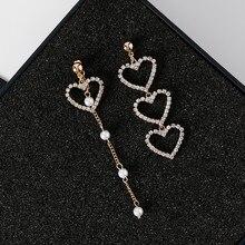 Crystal Love Heart Tassel Earrings