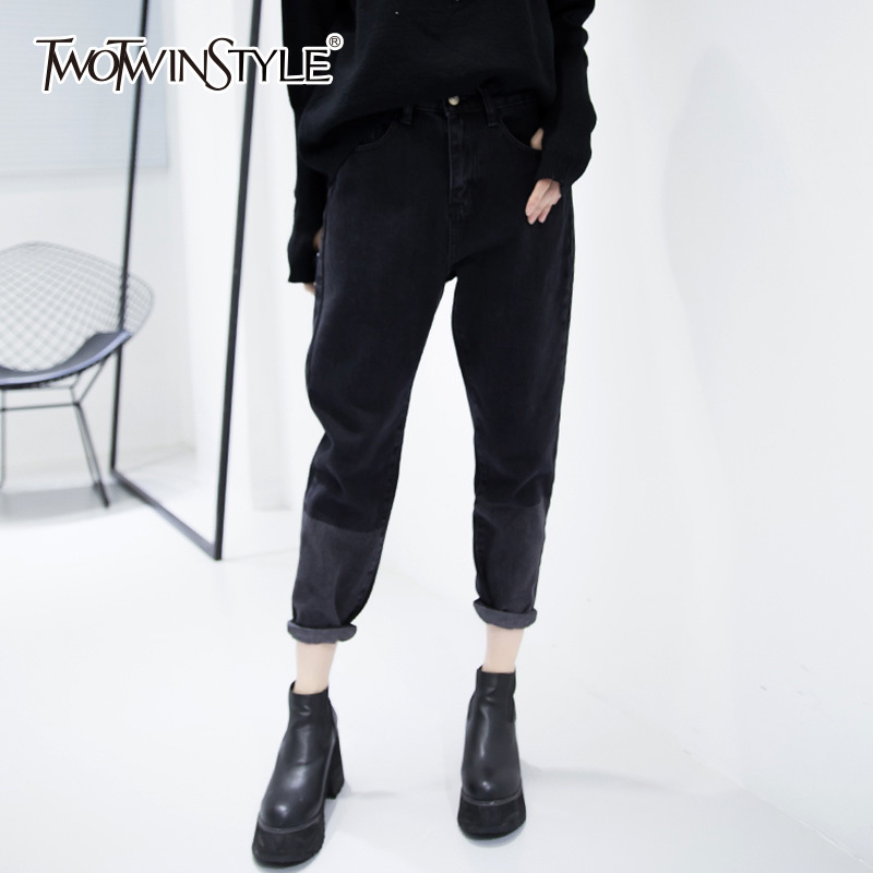 TWOTWINSTYLE High Waist Denim Harem Pants Women Calf Length Loose Jeans Female Patchwork Big Size Trousers Casual Clothing vgh high waist loose denim harem pants women black ankle length jeans pants big size female jean trousers casual clothing