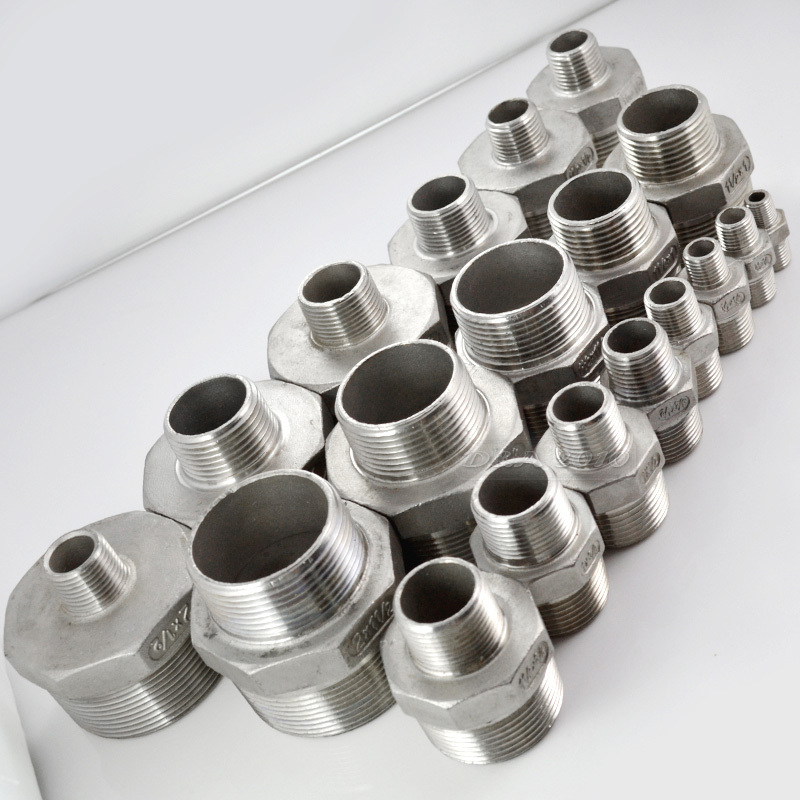 MEGAIRON High Quality 1-1/4x1 Hex Nipple Threaded Reducer Male x Male Pipe Fittings Stainless Steel SS304 New 2pcs 1 4bsp x 1 2 12 7mm double ferrule tube pipe fittings threaded male connector stainless steel ss 304 new good quality