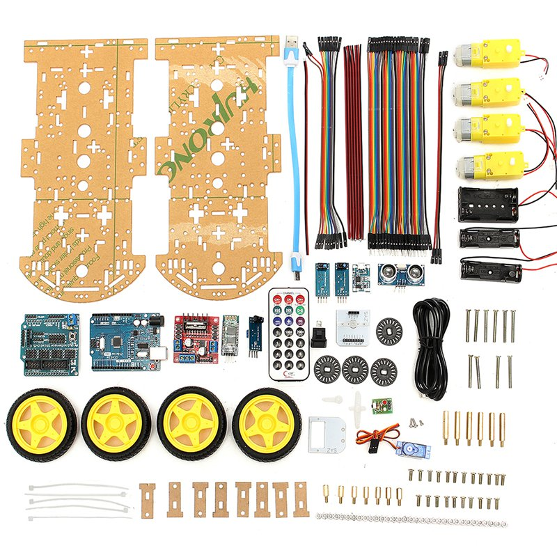 High Quality DIY 4WD Smart Robot Car Kit Bluetooth IR Obstacle Avoid Line DiY Robot Follow L298N for Arduino Electronic toy sunfounder sf rollbot stem learning educational diy robot kit gui mixly for arduino beginner bluetooth module infrared sensor