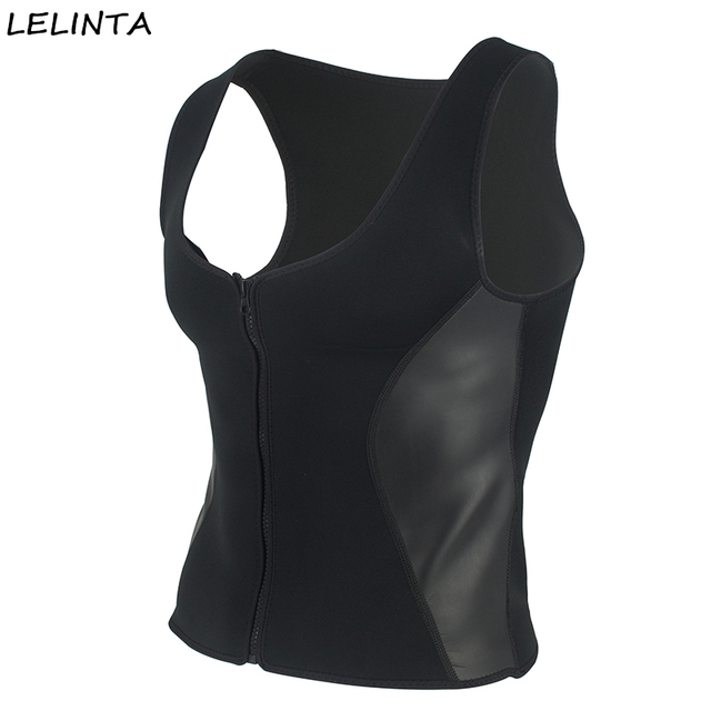 1ec4b5b0c23c8 LELINTA Men Hot Neoprene Workout Sauna Tank Top Zipper Waist Trainer Vest  Weight Loss Body Shaper Compression Shirt Corset