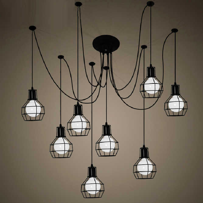 Livraison gratuite araignée lampes suspendues style vintage petites cages en fer 1/6/9/12 têtes lampes suspendues vintage base de lampe noir