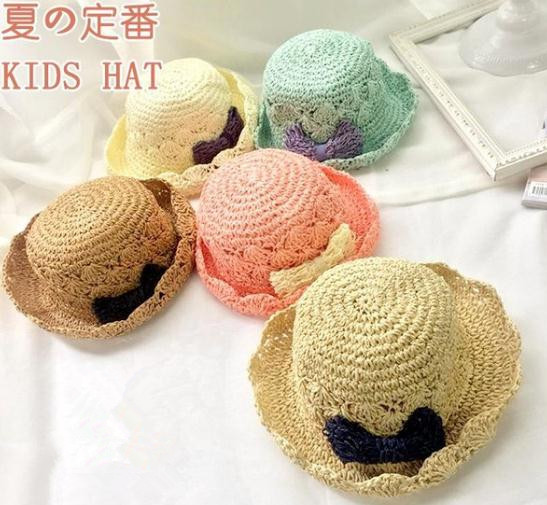 Japanese Hand-woven Straw Hat Spring And Summer Children's Princess Bow Hat Foldable Girls Crochet Hat Tide
