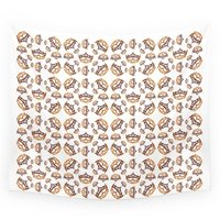 Queen Of Hearts Gold Crown Tiara Scattered Pattern By Kristie Hubler With White Background Wall Tapestry