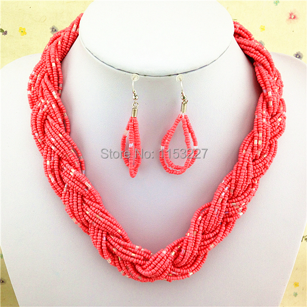 New fashion seed bead weaving necklace patterns african coral beads