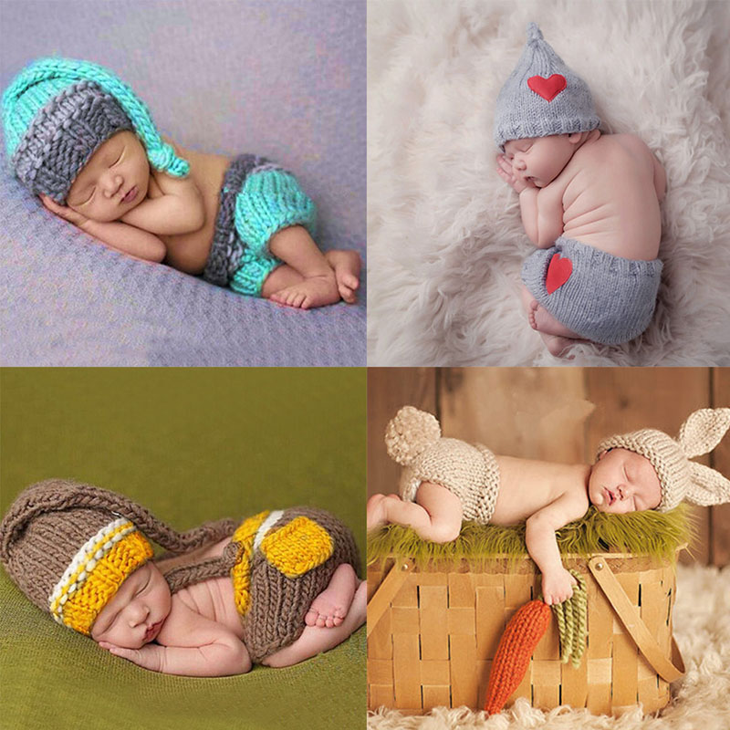 Newborn Baby Cute Crochet Knit Costume Prop Outfits Photo Photography Baby Hat Photo Props New born baby girls Cute Outfits beanie