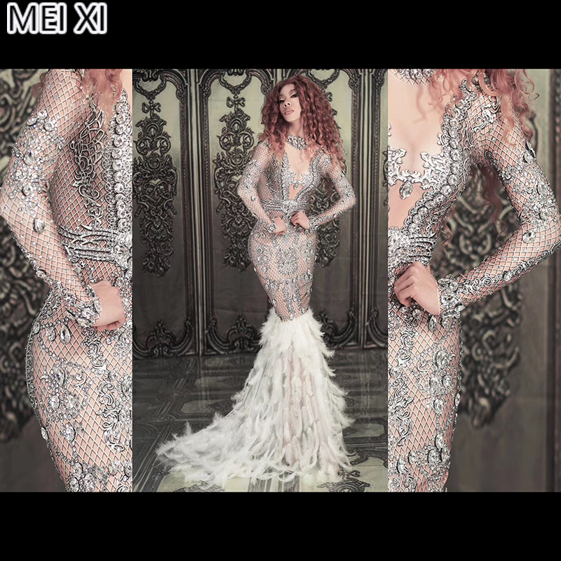Sparkle Silver Big Diamond Deep V Spandex White Feather Dress Birthday Celebration Evening Dress Concert Dance Singer Costume