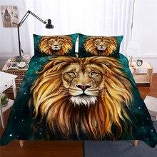 ชุดเครื่องนอน 3D พิมพ์ผ้านวมคลุมเตียงชุด Lion Home สิ่งทอสำหรับผู้ใหญ่เหมือนจริงผ้าปูกับปลอกหมอน # SZ02