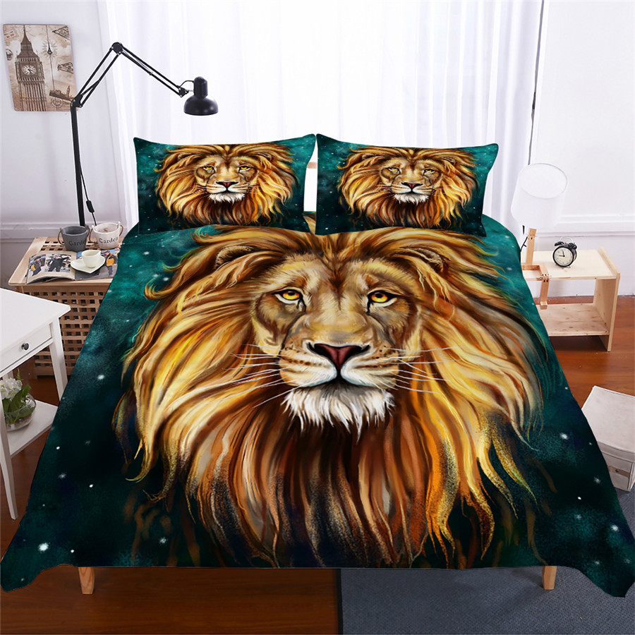 Bedding Set 3D Printed Duvet Cover Bed Set Lion Home Textiles for Adults Lifelike Bedclothes with Pillowcase #SZ02-in Bedding Sets from Home & Garden