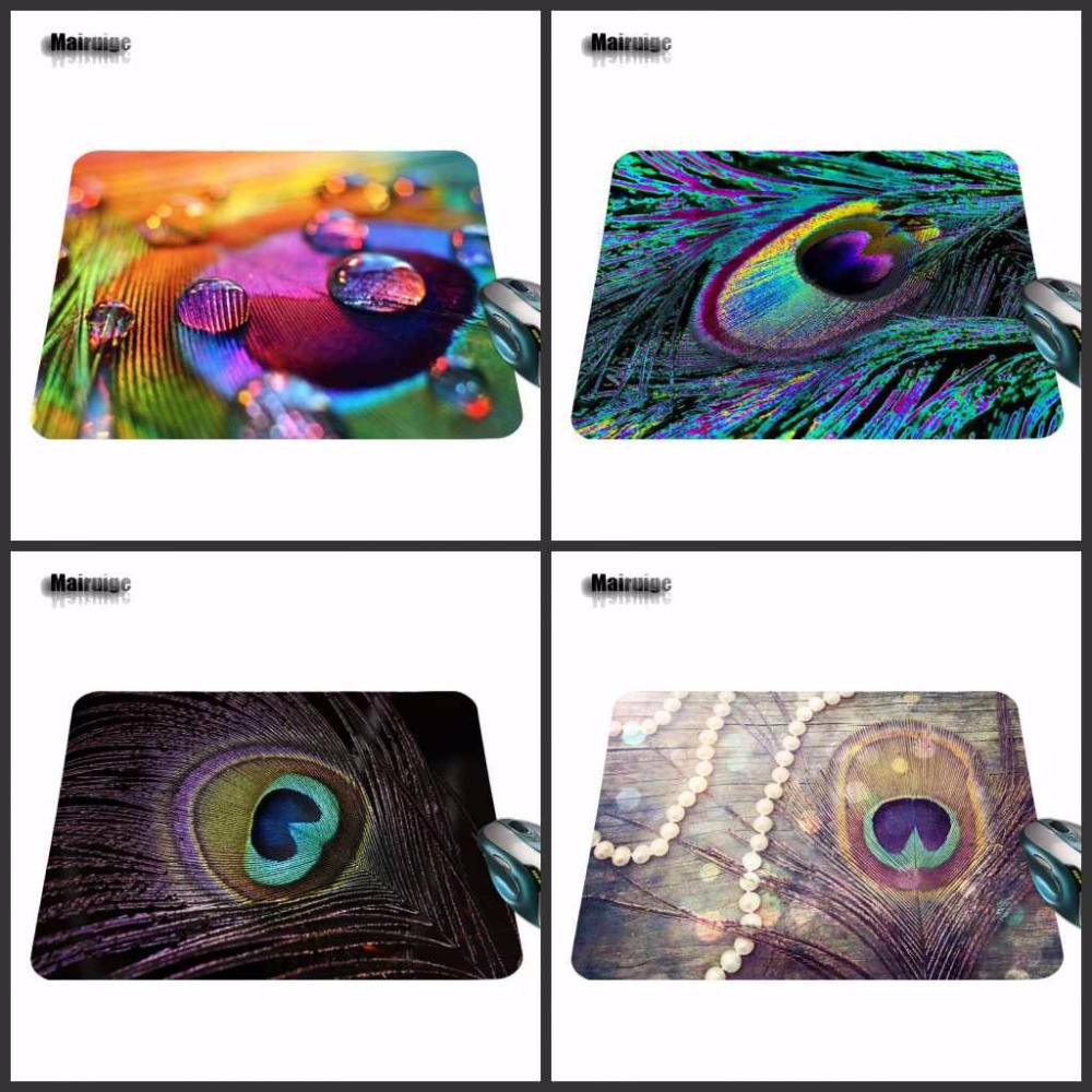 Hot Sale Luxury Printing Customized Watercolor feathers Game Skin Non Slip Durable Rubber Mousepad for PC Optical Mouse