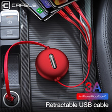 CAFELE  micro usb type-c cable for iPhone Charger Xiaomi Huawei 3 in 1 Cable 120cm 3A Fast Charging Retractable Data
