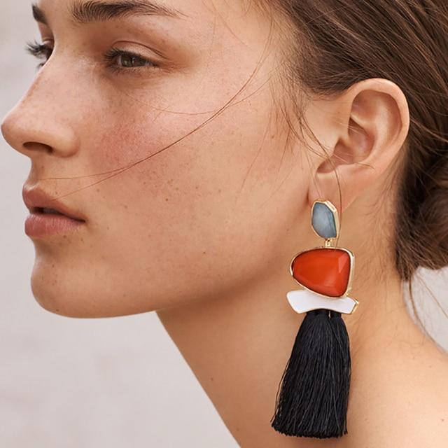 2019 Bohemia Fashion Statement Jewelry Tassel Long Gem Beads Earring For Women F