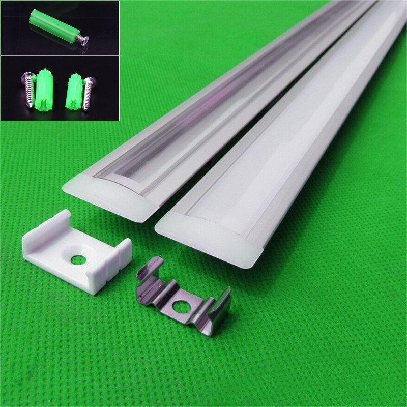 2-20 Pcs/lot 0.5m/pc  Led Channel,embedded  Aluminum Profile For 5050 5630  Led Strip,milky/transparent Cover For 12mm Pcb