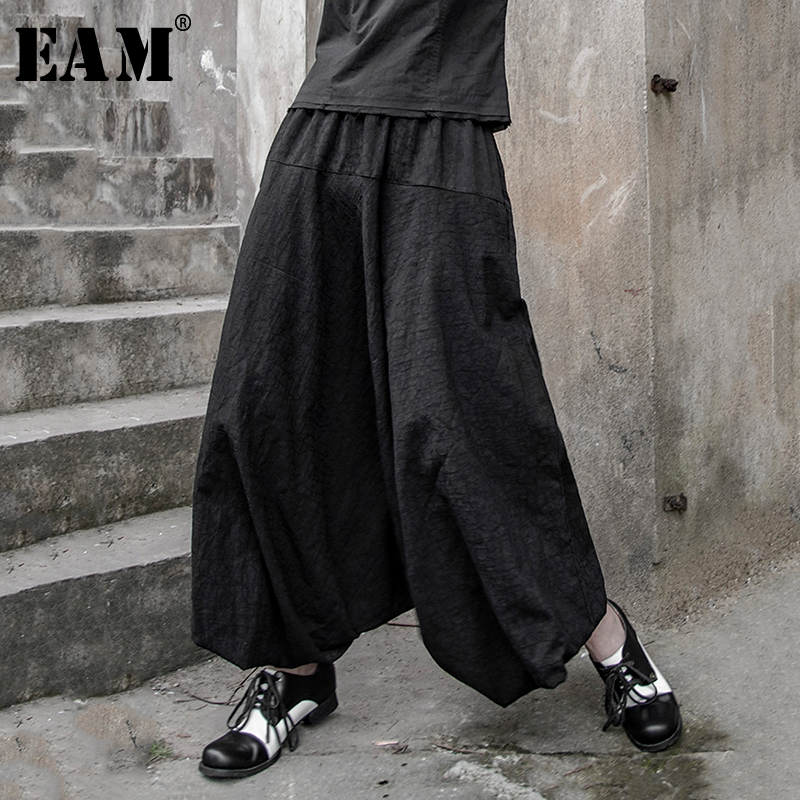 [EAM] 2019 New Spring Summer High Elastic Waist Black Line Split Joint Loose   Wide     Leg     Pants   Women Trousers Fashion Tide JX109
