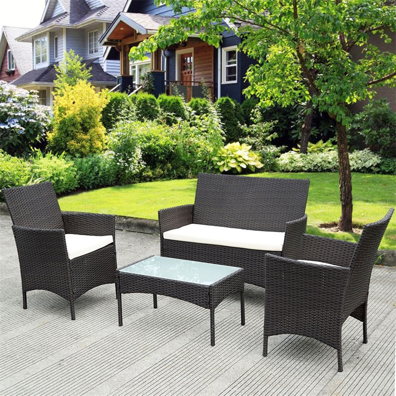 Wondrous Us 240 47 45 Off 4 Pcs Outdoor Patio Waterproof Rattan Wicker Sturdy Steel Frame Cushioned Sofa Table Comfortable Removable Cushions Hw52188 In Frankydiablos Diy Chair Ideas Frankydiabloscom