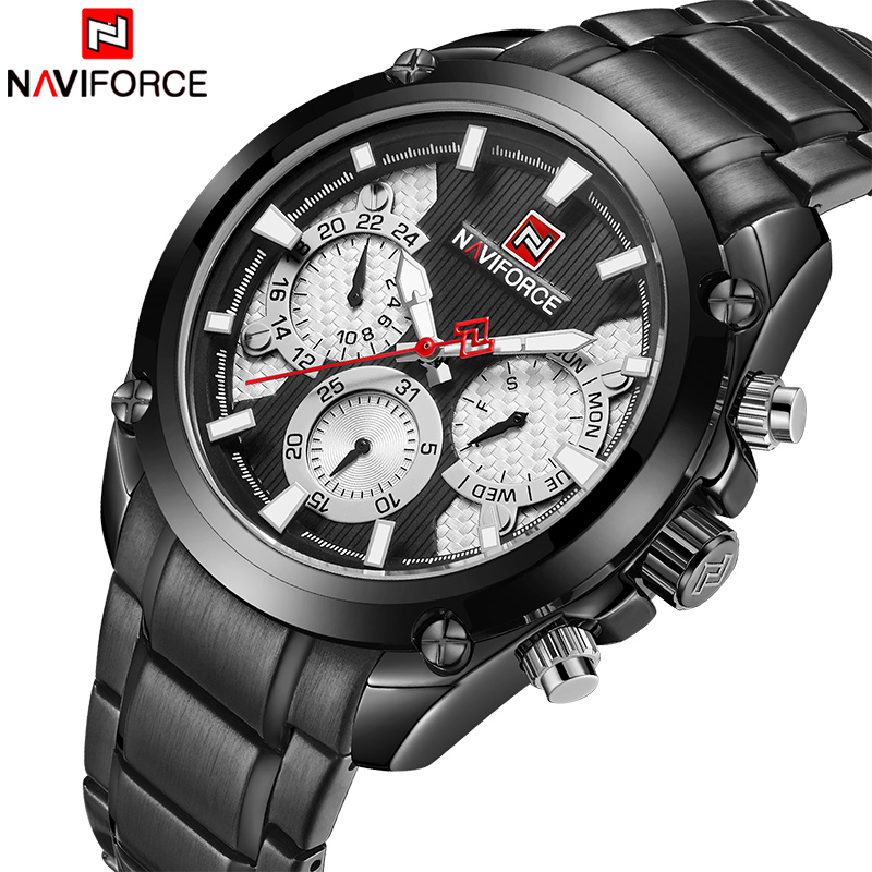NAVIFROCE 2018 The New Men Leisure Sports Watches Men Fashion Stainless Steel Quartz Date 24 Hour Analog Clock Relogio MasculinoNAVIFROCE 2018 The New Men Leisure Sports Watches Men Fashion Stainless Steel Quartz Date 24 Hour Analog Clock Relogio Masculino