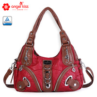 Angelkiss Ladies Handbags and Purse Soft PU Mixed Color Shoulder Bags with Two Top Zippers Closure Multiple Pockets AK11282P