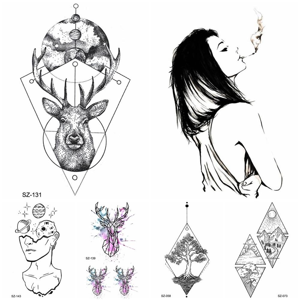 3D Temporary Tattoo Stickers Women Body Arm Smoking Girls Water Transfer Tatoo Men Wrist Geometry Deer Moon Fake Tattoo Supplies